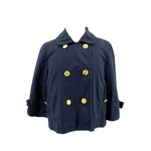 Juicy Couture Jacket Military Pea Coat Navy Blue
